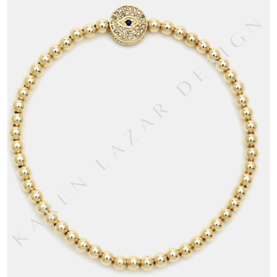 3mm Yellow Gold Filled Bracelet With Pave Diamond And Sapphire Evil Eye Bead