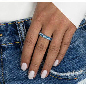 Kristyn Kylie Baguette Gemstone Ring in Blue Topaz