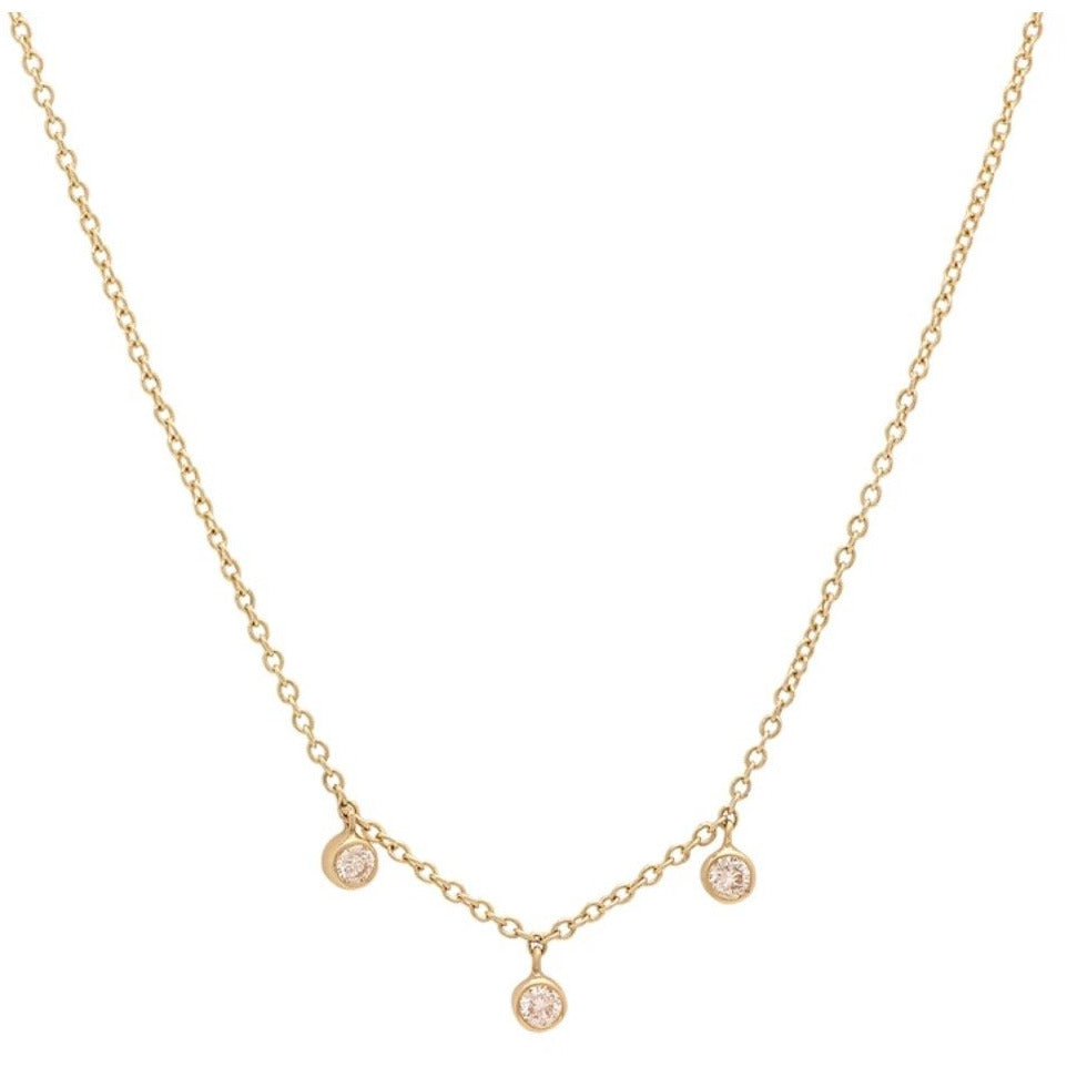 3 Diamond Mini Bezel Drop Necklace