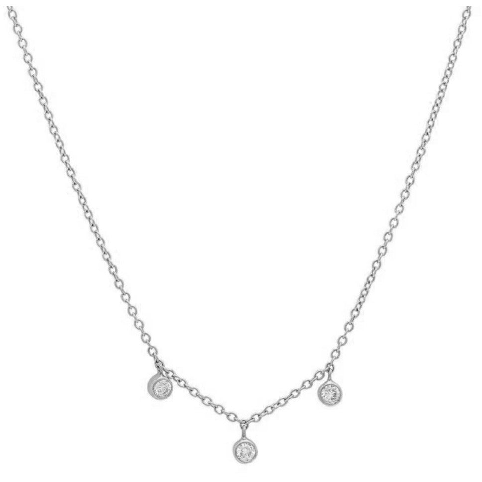 3 Diamond Mini Bezel Dangle Necklace