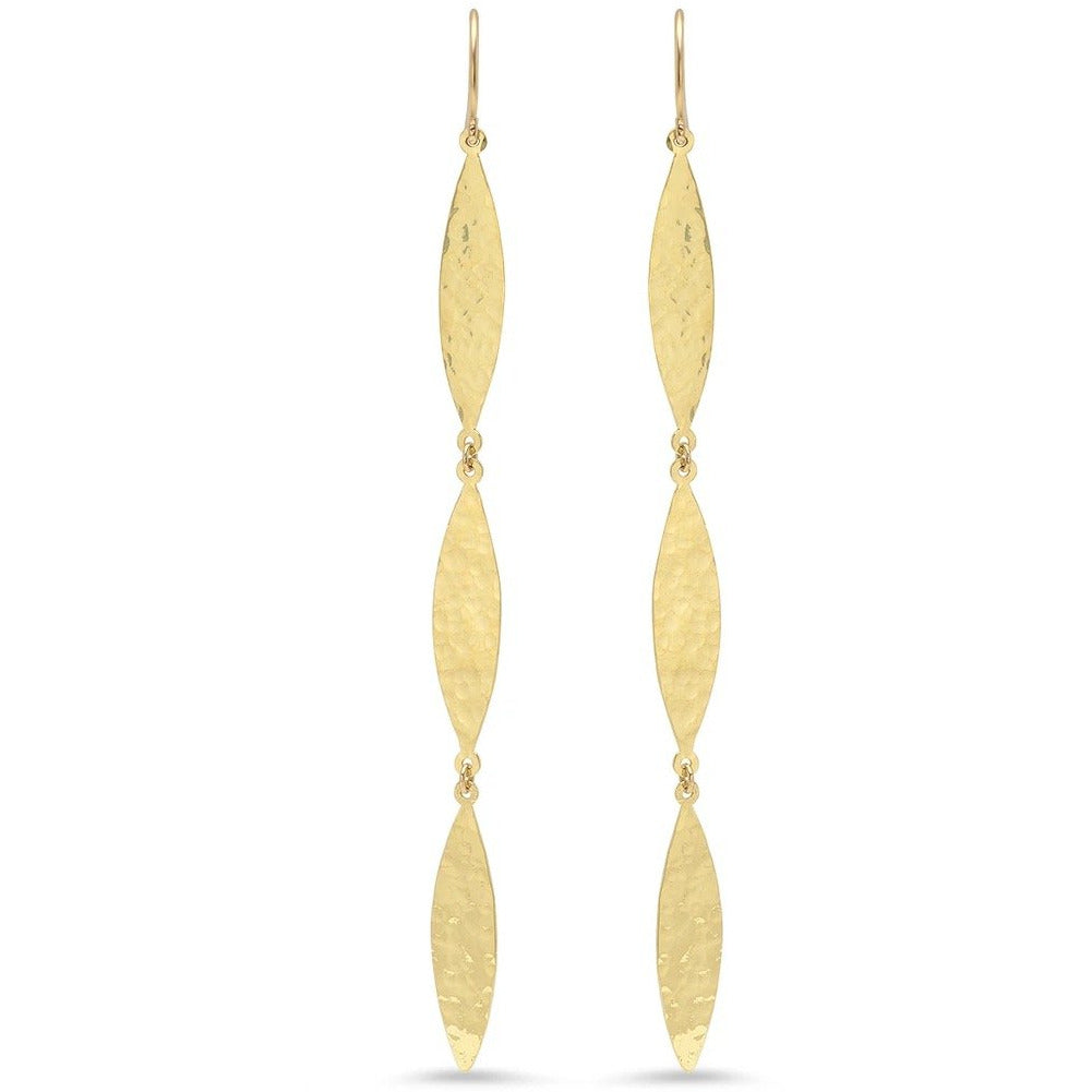 Hammered Marquis 3-Drop Earrings