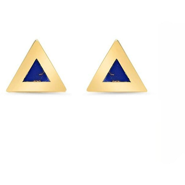 Lapis Inlay Mini Triangle Stud Earrings