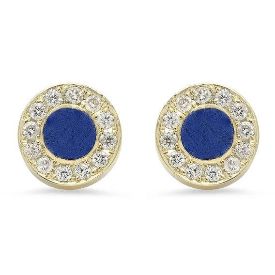 Mini Lapis Inlay Circle With Diamond Surround Stud Earrings