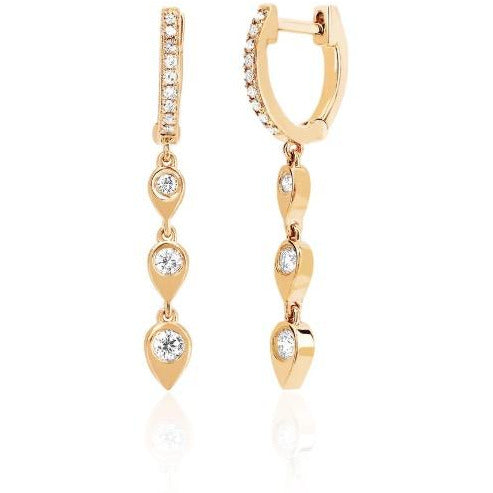 Diamond Huggie with 3 Gold & Diamond Teardrop Drop Earring