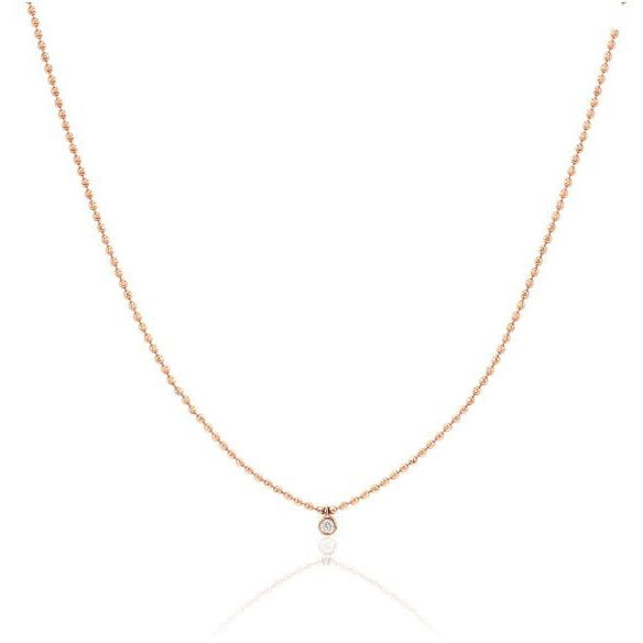 Single Diamond Bezel Faceted Chain Necklace