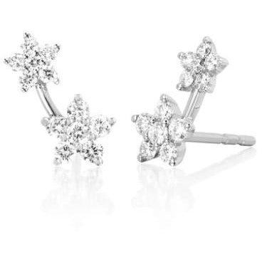 Single Diamond Double Flower Stud Earring