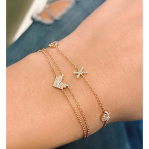 Diamond Sweetheart Charm Bracelet (Arrow, Bezel, Heart, X, O)
