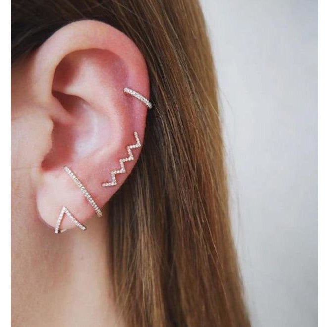 Diamond Chevron Huggie Earring