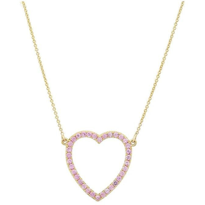 Pink Sapphire Open Heart Necklace