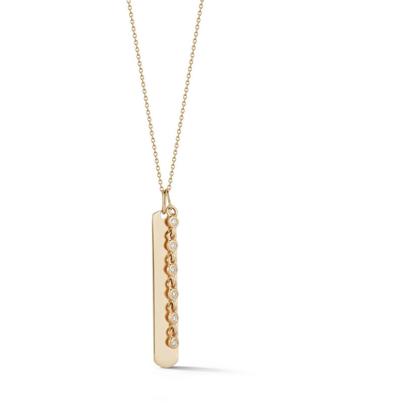 Lulu Jack Vertical Bar and Diamond Bezel Link Necklace