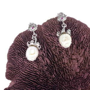 Loving White Rose Silver Bracelet & Earrings Set