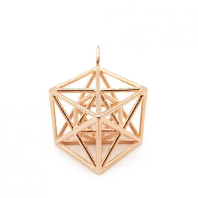 Metatron Cube Pendant (Rose Gold) - Heting Artelier