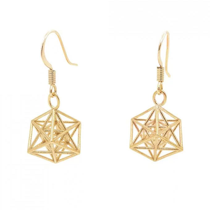 Metatron Cube Earrings (Gold) - Heting Artelier
