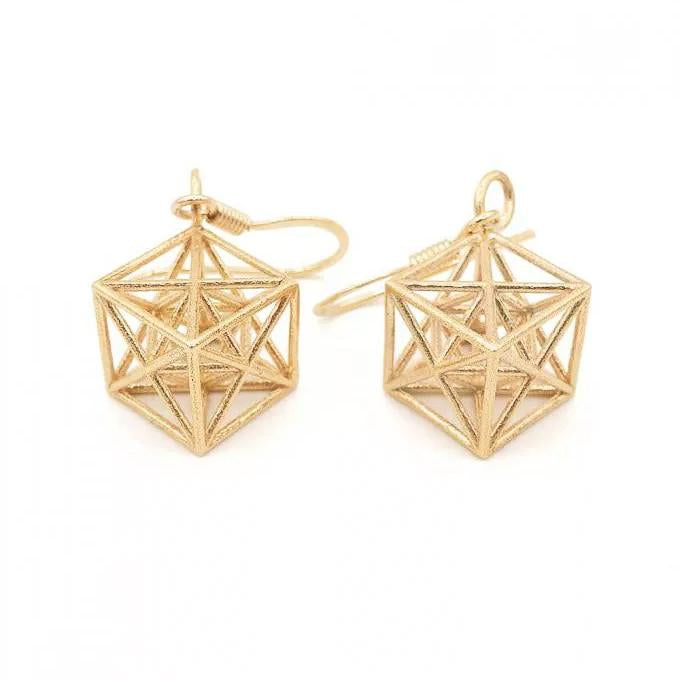 Metatron Cube Earrings (Silver) - Heting Artelier