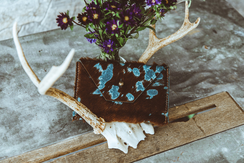 Brown & Turquoise Button Wallet