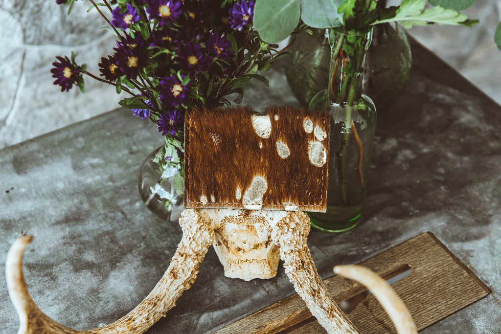 Brown and Gold Cowhide Credit Card Holder