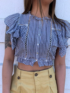 B/W Striped Woven Crop