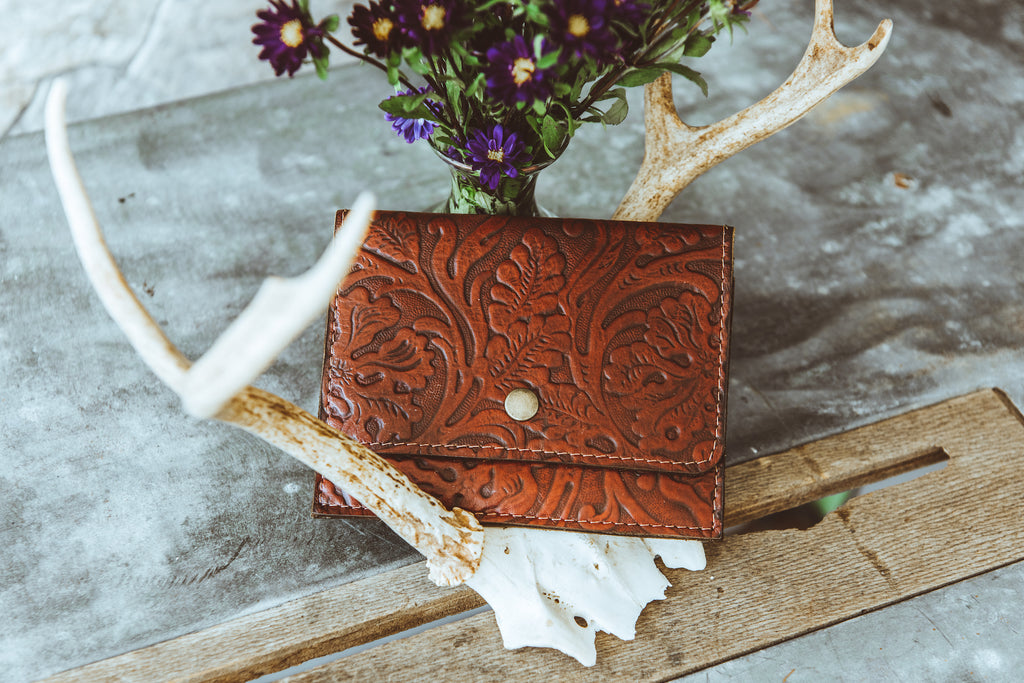 Red Leather Paisley Wallet