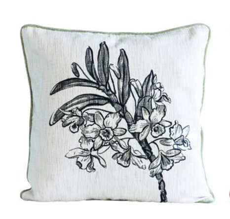Floral Velvet Printed Pillow (Single Stem Image)