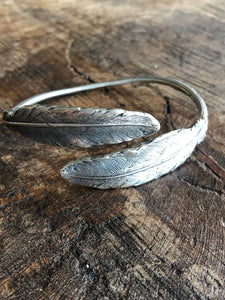 Sterling Double Feather Bangle