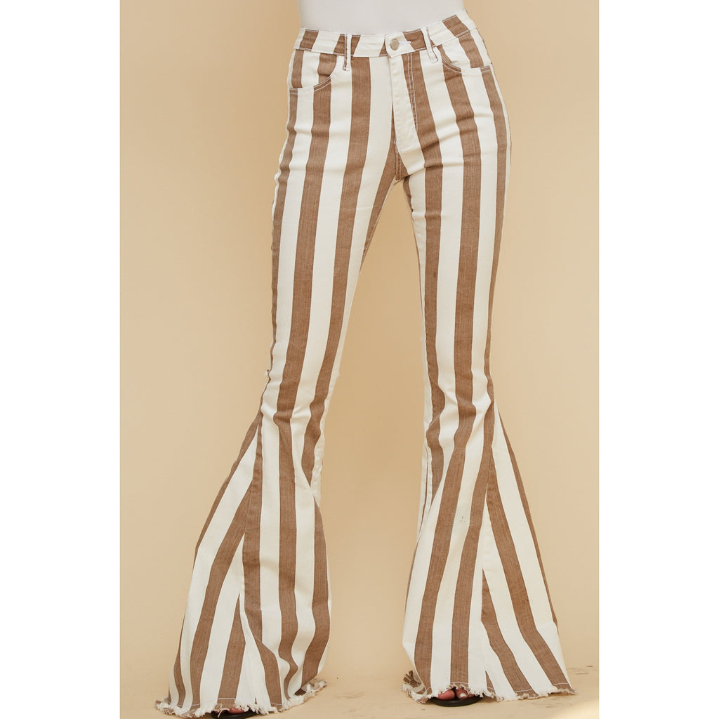 Brown Striped Bell Bottoms