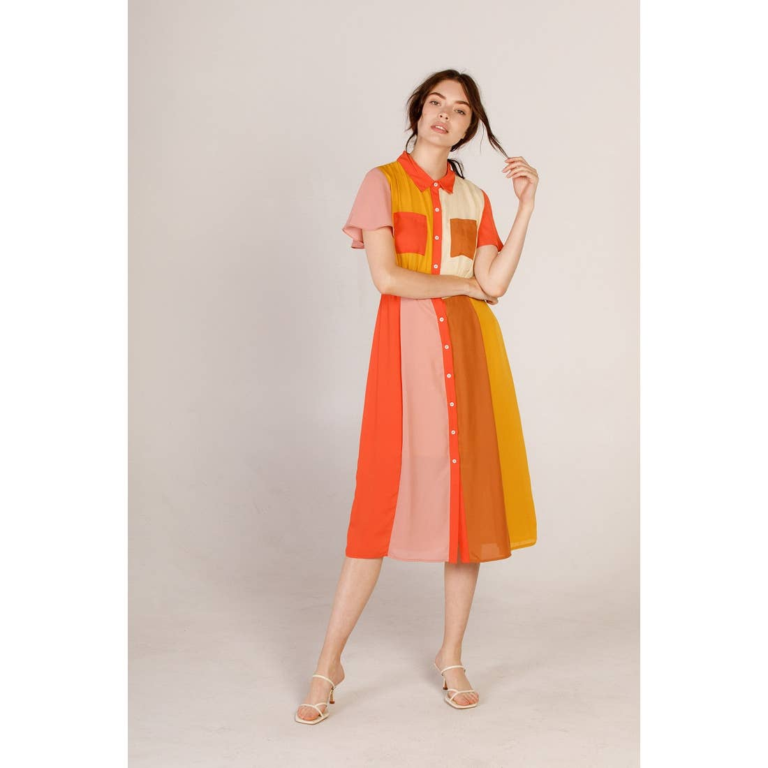 Colorblock Shirt Dress