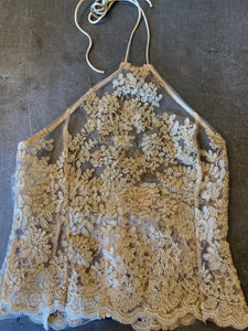 Vintage Gold Lace Halter Top