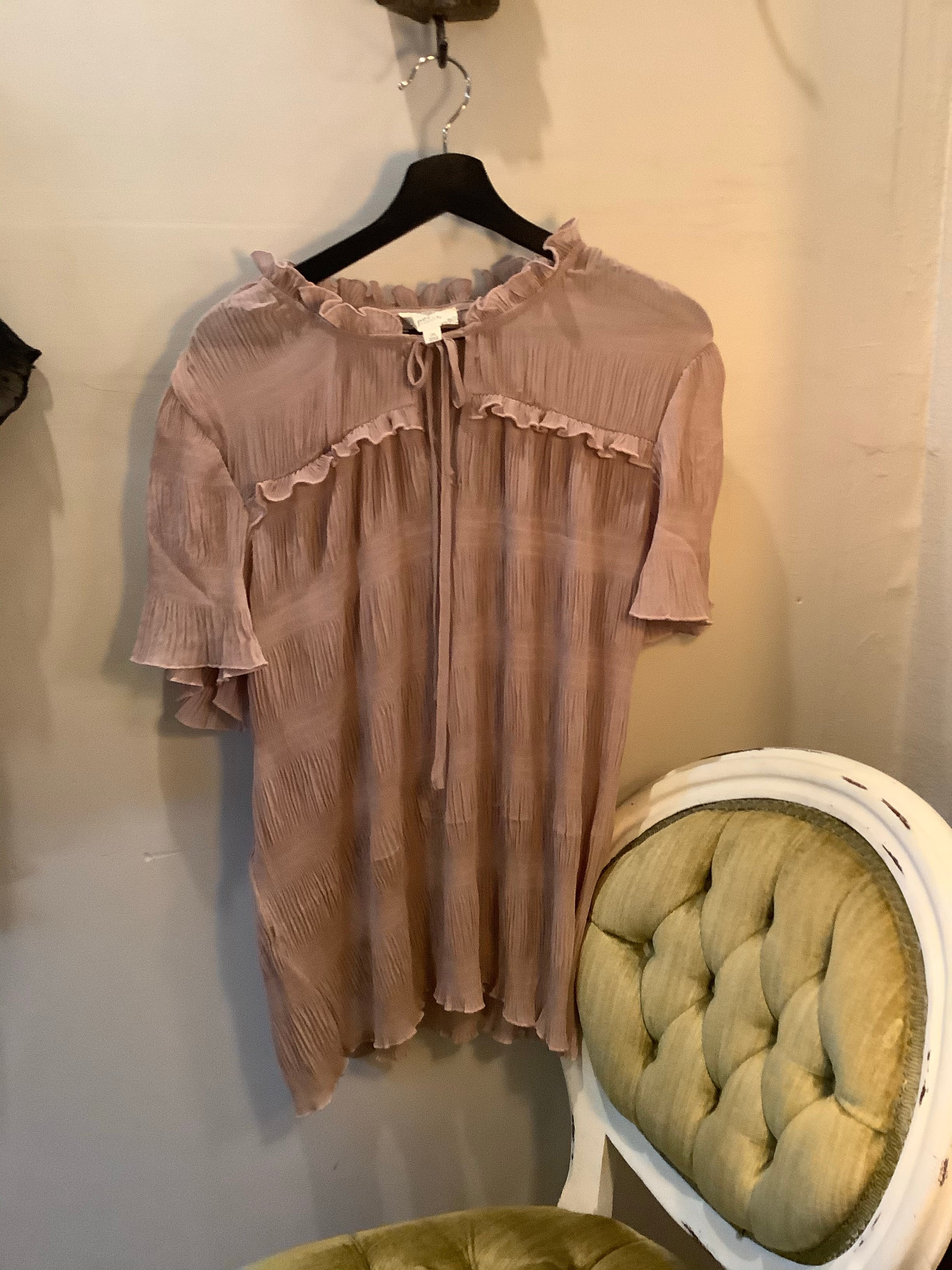 Plus Ruched Sleeve Top Blush