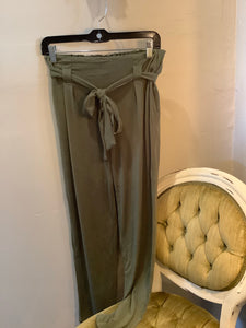 Stretch Wide Leg Poly with belt - Olive