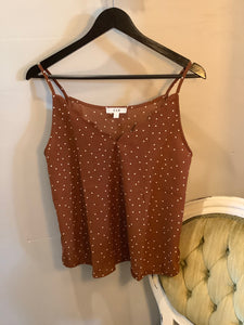Polka Dot Scalloped Tank Rust