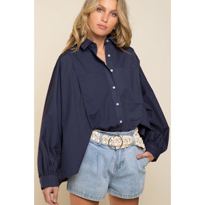 Oversized Navy Button Up