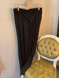 Plus Stretch Wide Leg Poly with belt Black