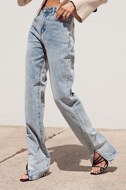 High Rise Denim with Slits