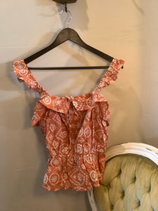 Embroidered Floral Tank Terra Cotta