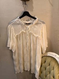Plus Ruched Sleeve Top Ivory