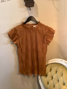 Rust Sheer Top with Keyhole