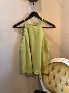 Scalloped High Neck Tank Lime