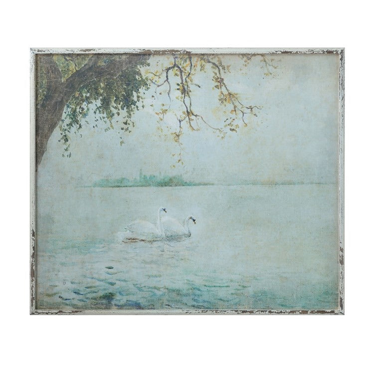 Framed Wall Decor w/ Vintage Reproduction Swans