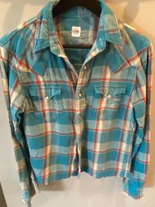 Vintage Plaid Pearl Snap - Size Men's S