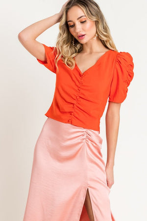 Orange Puff Sleeve Top