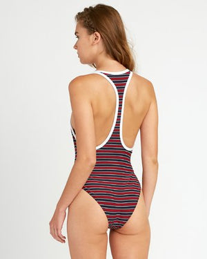 Red White One Piece Swimsuit