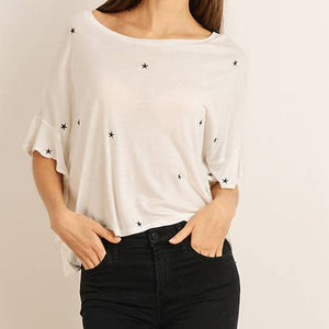 Star Print Ruffled T-shirt