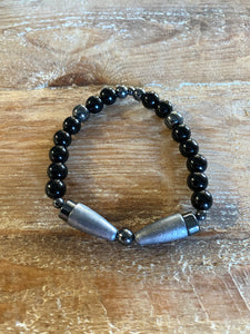 GYX Bracelet Black Glass Titanium Pinnacle