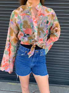 Vintage Sheer Floral Woven Top Size: L