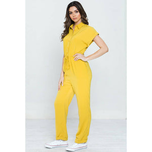 Button-Down Jumpsuit - Yellow