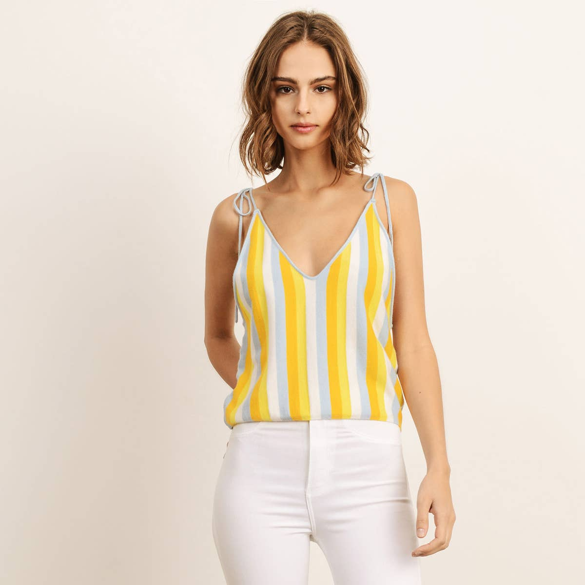 Multi stripe Tie Top