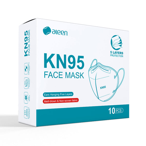 N95 Face Masks - (Box of 10) KN95 PPE Protection vs. airborne particles, droplets, pollution, pollen