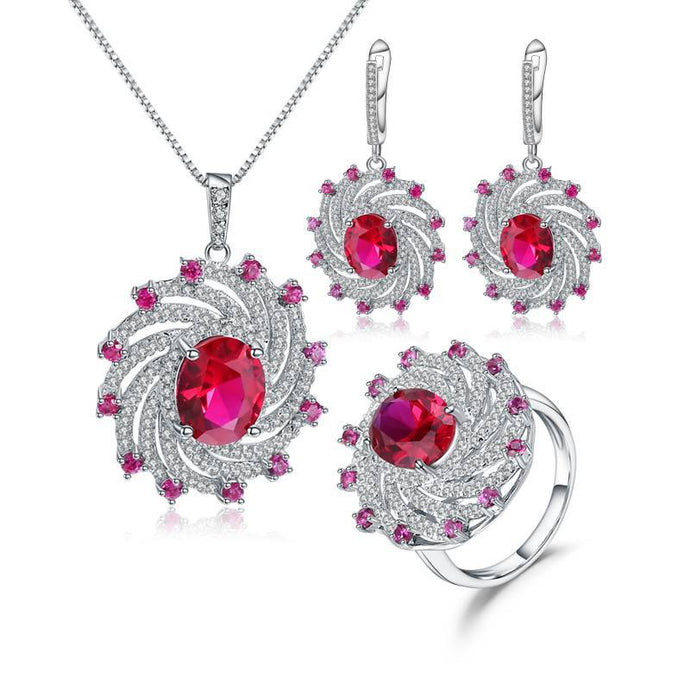 Vintage Ruby Gemstone Sterling Silver Set