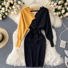 Load image into Gallery viewer, Elegant Sashes V Neck Knit Dress
