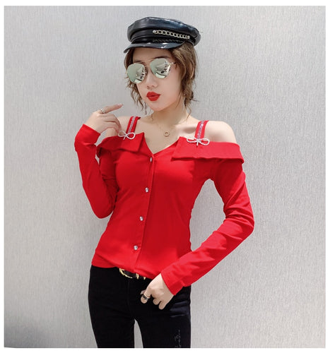 Women Sexy Long Sleeve Off-shoulder Shirt
